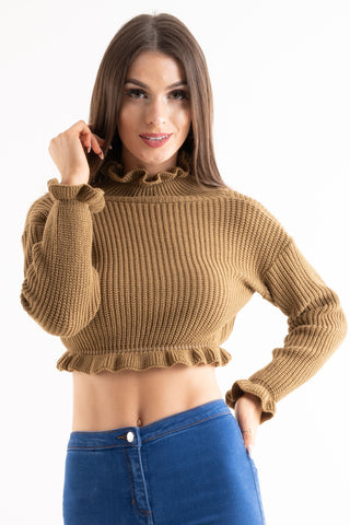 'Leah' Brown Ruffle Detail Cropped Knitted Jumper - Pretty Rebel