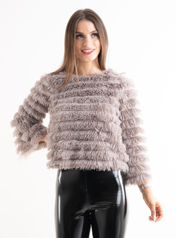 'Leena' Grey Shaggy Layered Frill Long Sleeve Top - Pretty Rebel