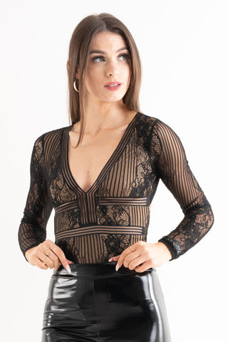 Felicia Black Long Sleeve Bodysuit - Pretty Rebel