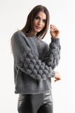Estelle Charcoal Chunky Knit Bobble Sleeve Jumper - Pretty Rebel