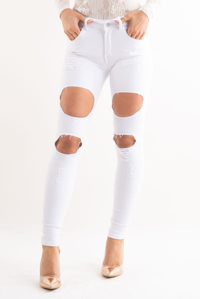White Extreme Rip High Waisted Skinny Jeans, Prettyrebel.com