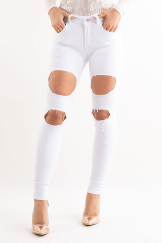White Extreme Rip High Waisted Skinny Jeans - Pretty Rebel