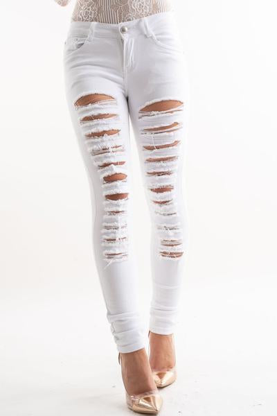 Chantelle extreme distressed white ripped skinny stretch jeans, Prettyrebel.com