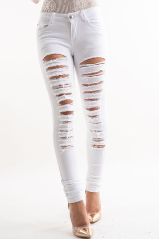 White Extreme Distressed Ripped Jeans