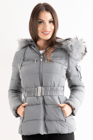 'Ella' Light Grey Belted Quilted Real Fur Hood Puffer Jacket