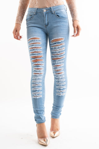 Extreme Bleach Denim Distressed Ripped Jeans