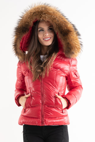'Lucy' Red Shiny Real Fur Hood Quilted Puffer Coat, Prettyrebel.com