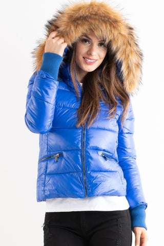 'Amy' Blue Shiny Faux Fur Hood Puffa Jacket - Pretty Rebel