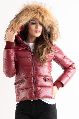'Amy' Maroon Shiny Faux Fur Hood Puffa Jacket - Pretty Rebel