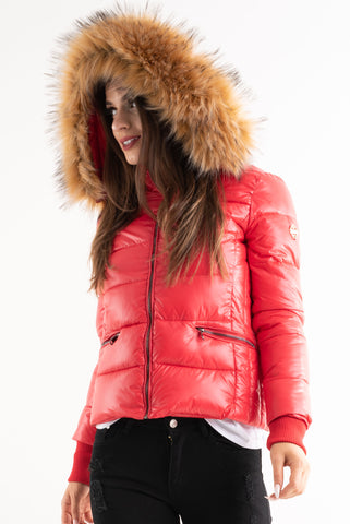 'Amy' Red Shiny Faux Fur Hood Puffa Jacket - Pretty Rebel