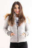 'Amy' Grey Shiny Faux Fur Hood Puffa Jacket