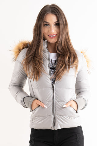 'Amy' Grey Shiny Faux Fur Hood Puffa Jacket - Pretty Rebel