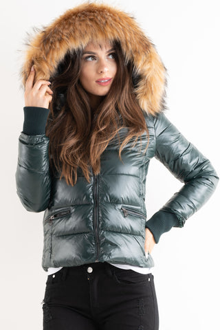 'Amy' Green Shiny Faux Fur Hood Puffa Jacket - Pretty Rebel