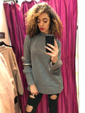 Ruby Grey Over Sized Baggy Aztec Fur Jumper - Pretty Rebel