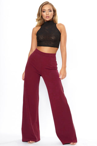 Burgundy High Waist Wide Leg Trouser