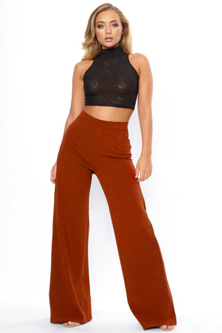 Rust High Waist Wide Leg Trouser - Pretty Rebel