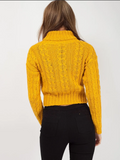 Mustard Roll Neck Cable Knit Cropped Jumper - Pretty Rebel