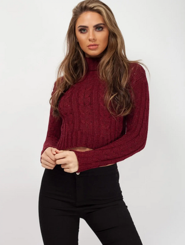 Wine Roll Neck Cable Knit Cropped Jumper - Pretty Rebel