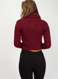 Wine Roll Neck Cable Knit Cropped Jumper, Prettyrebel.com