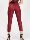 'Jessie' Wine Belted Croc Print Tapered Trousers - Pretty Rebel
