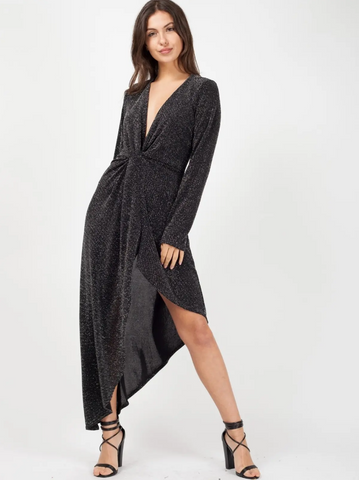 'Annie' Black Twist Front Asymmetrical Lurex Dress - Pretty Rebel