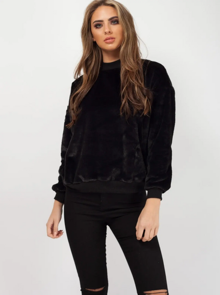 'Miley' Black High Neck Fluffy Jumper - Pretty Rebel