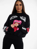 Black Monster Printed Sweatshirt Jumper, Prettyrebel.com