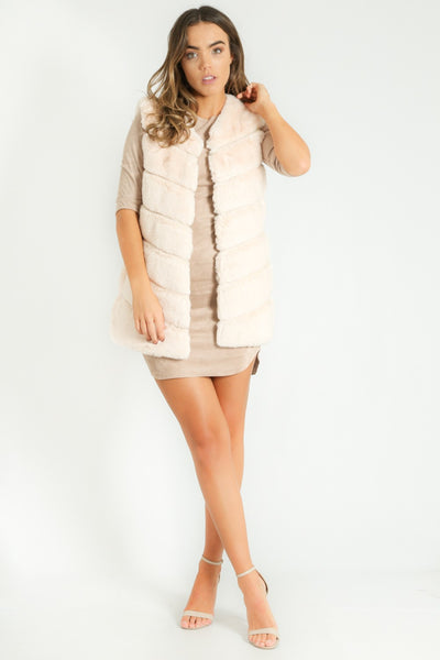 Short Hair Faux Fur Gilet In Cream