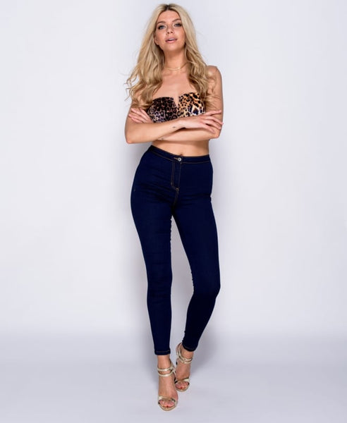 Sophia High Waisted Indigo Blue Denim Skinny Jeans, Prettyrebel.com
