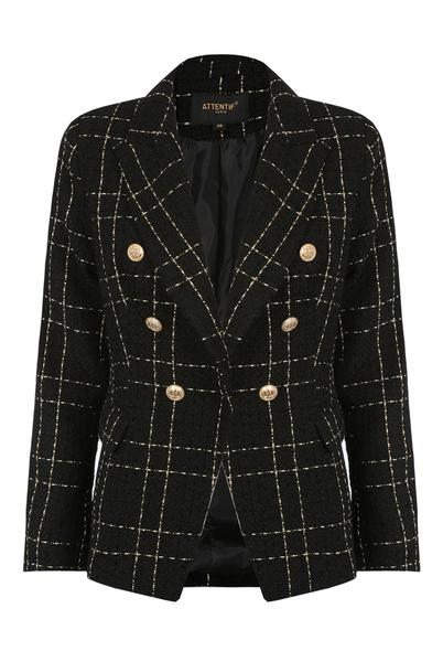 Black knitted check pattern double breast blazer - annabelle, Prettyrebel.com