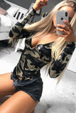 Camo Metallic Plunge Neck Long Sleeve Bodysuit - Pretty Rebel