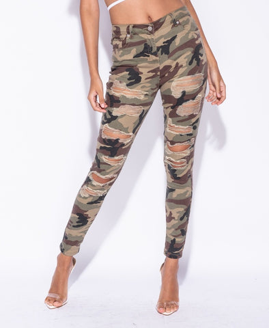 Army Camouflage Skinny Distressed Ripped Jeans - Pretty Rebel