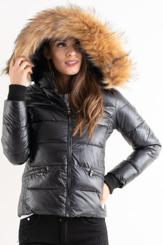 'Amy' Black Shiny Faux Fur Hood Puffa Jacket - Pretty Rebel