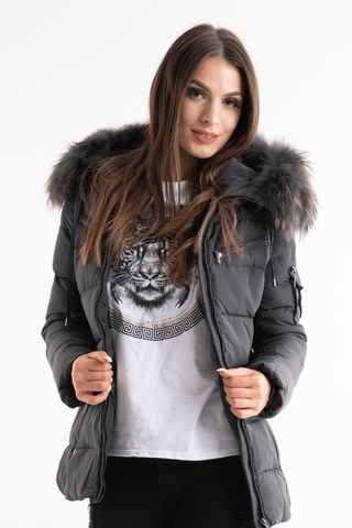 'Ella' Grey Belted Quilted Real Fur Hood Puffer Jacket - Pretty Rebel