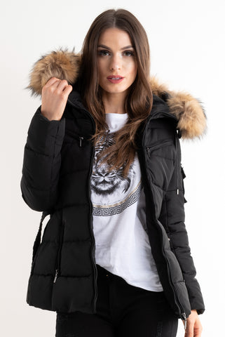 Black Quilted Natural Real Fur Hood Belt Puffer Zip Coat, Prettyrebel.com