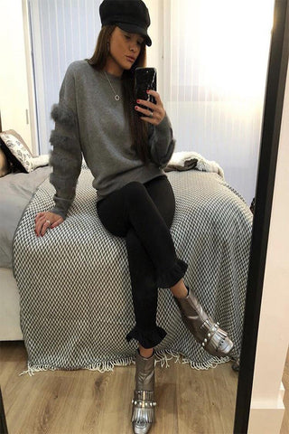 Leea Grey Fur Arm Jumper - Pretty Rebel