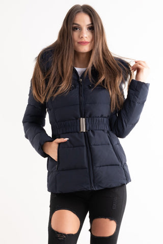 'Ella' Navy Belted Quilted Real Fur Hood Puffer Jacket - Pretty Rebel