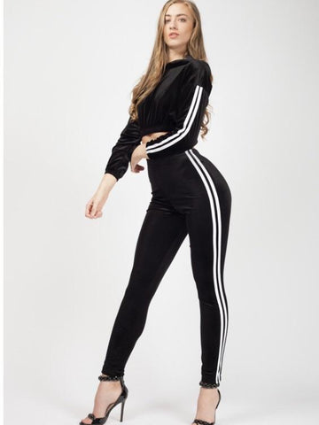 Black Side Striped Velour Cropped Tracksuit, Prettyrebel.com