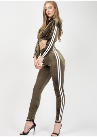 Khaki Side Striped Velour Cropped Tracksuit, Prettyrebel.com