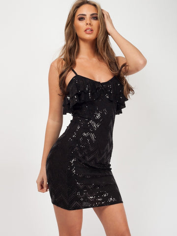 Sasha Frill Detail Sequin Cami Black Dress - Pretty Rebel