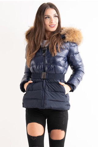 'Luxe' Navy Half Shine Effect Real Fur Hood Puffer Jacket - Pretty Rebel