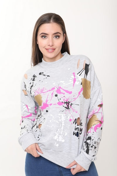 Lucy Paint Splash Grey Jumper, Prettyrebel.com
