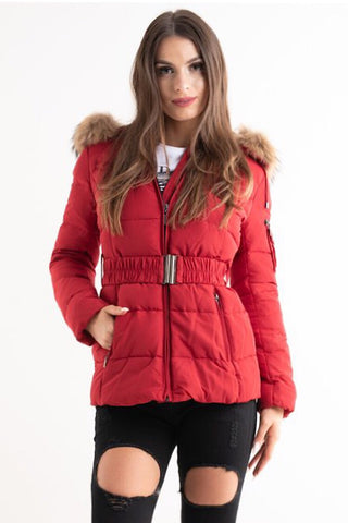 'Ella' Red Belted Quilted Real Fur Hood Puffer Jacket