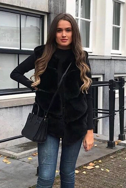 Black Luxury Faux Fur Gilet - Pretty Rebel