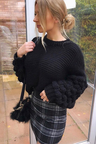 Estelle Black Chunky Knit Bobble Sleeve Jumper - Pretty Rebel