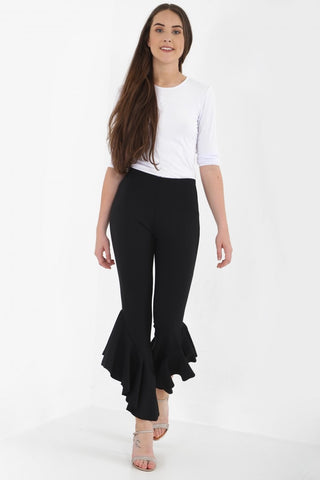 Willow Black Flare Frill Hem Crop Trousers, Prettyrebel.com