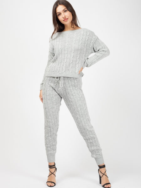 'Elle' Grey Cable Knit Loungewear Set