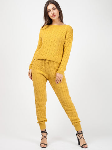 'Elle' Mustard Cable Knit Loungewear Set - Pretty Rebel
