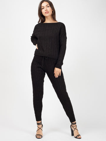 'Elle' Black Cable Knit Loungewear Set