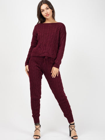 'Elle' Maroon Cable Knit Loungewear Set - Pretty Rebel